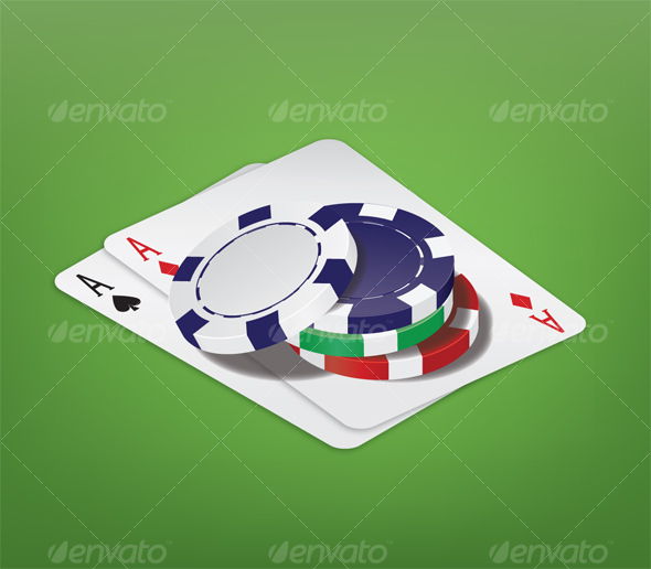 Poker Chips with Cards - Man-made Objects Objects