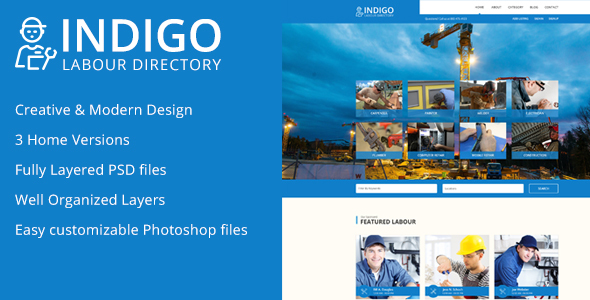 Indigo Labour Directory PSD Template - Corporate PSD Templates