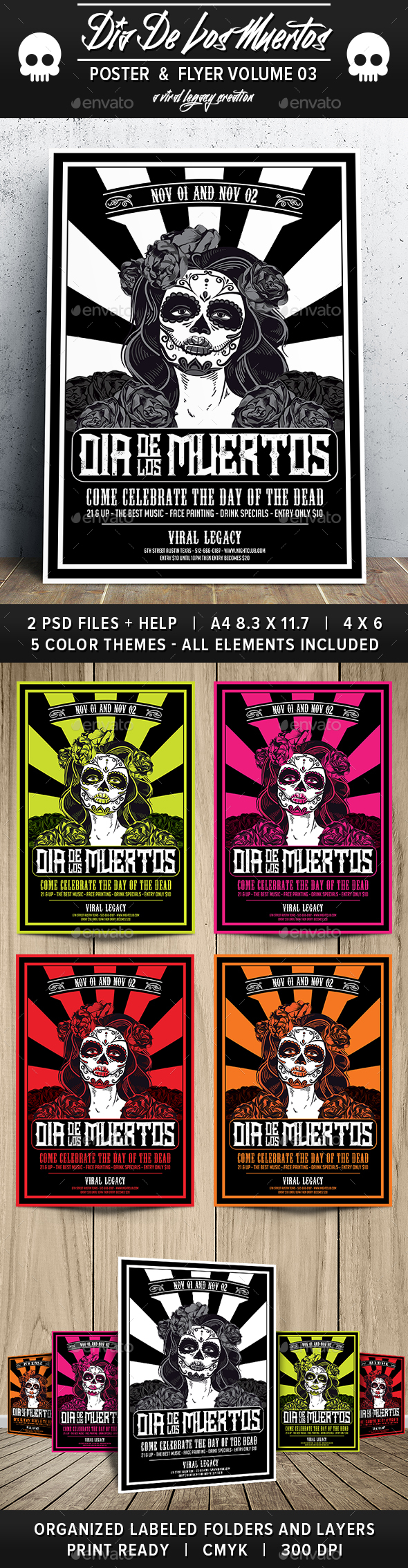 Dia De Los Muertos Volume 3 - Flyers Print Templates