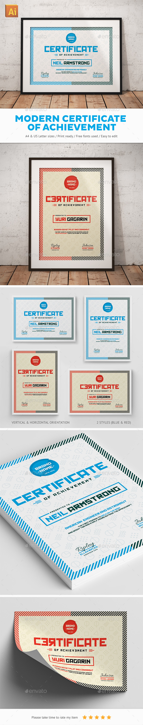 Modern certificate of achievement by snowboy graphicriver modern certificate of achievement certificates stationery xflitez Choice Image
