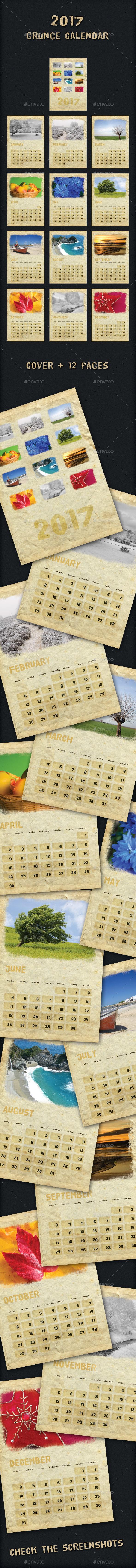 2017 Grunge Calendar - Calendars Stationery