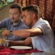 Two Men Puts The Food Into The Plate In Restaurant - VideoHive Item for Sale