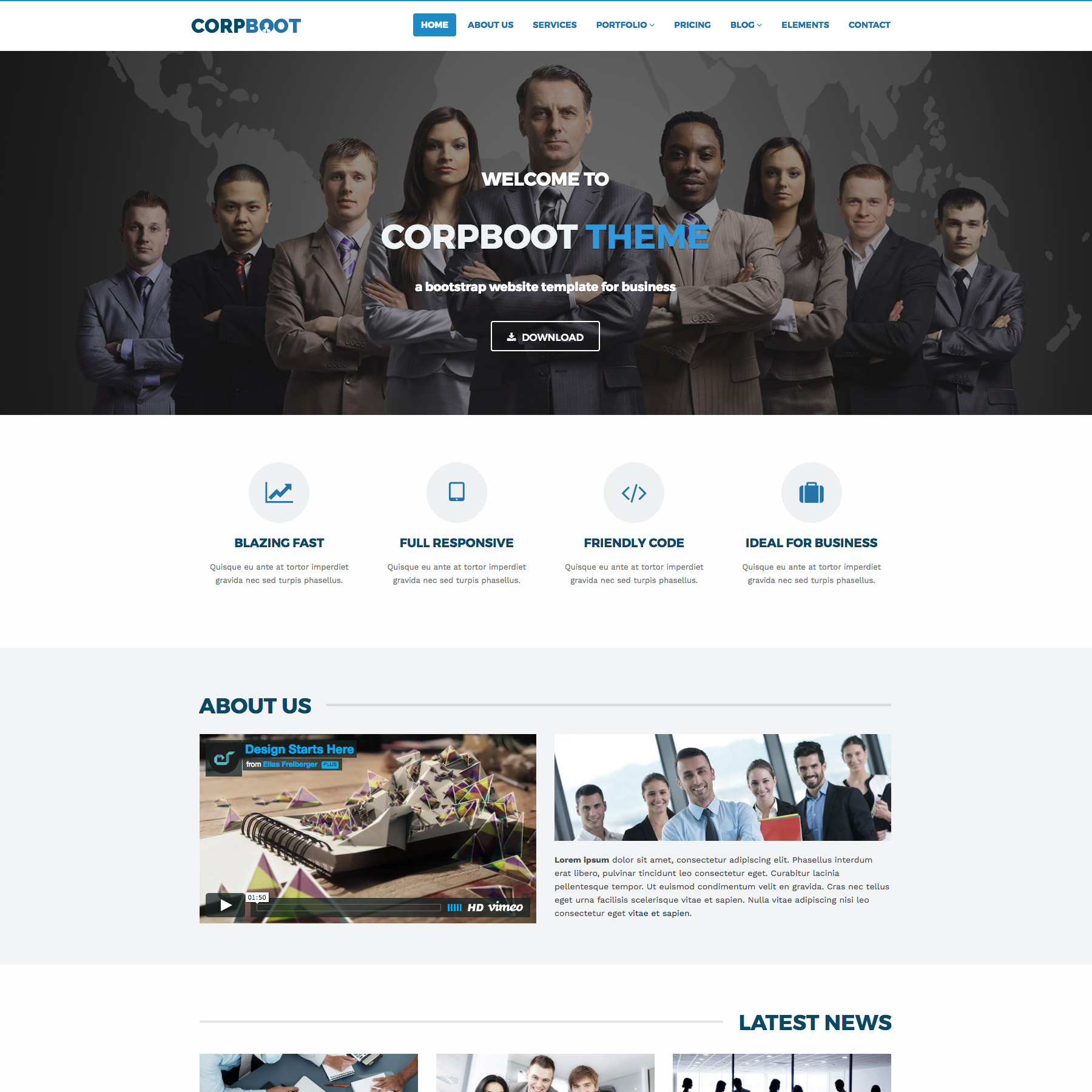 Corpboot corporate website template by rafamem themeforest corpboot corporate website template wajeb Images