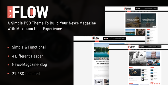 FlowNews – News and Magazine PSD Template