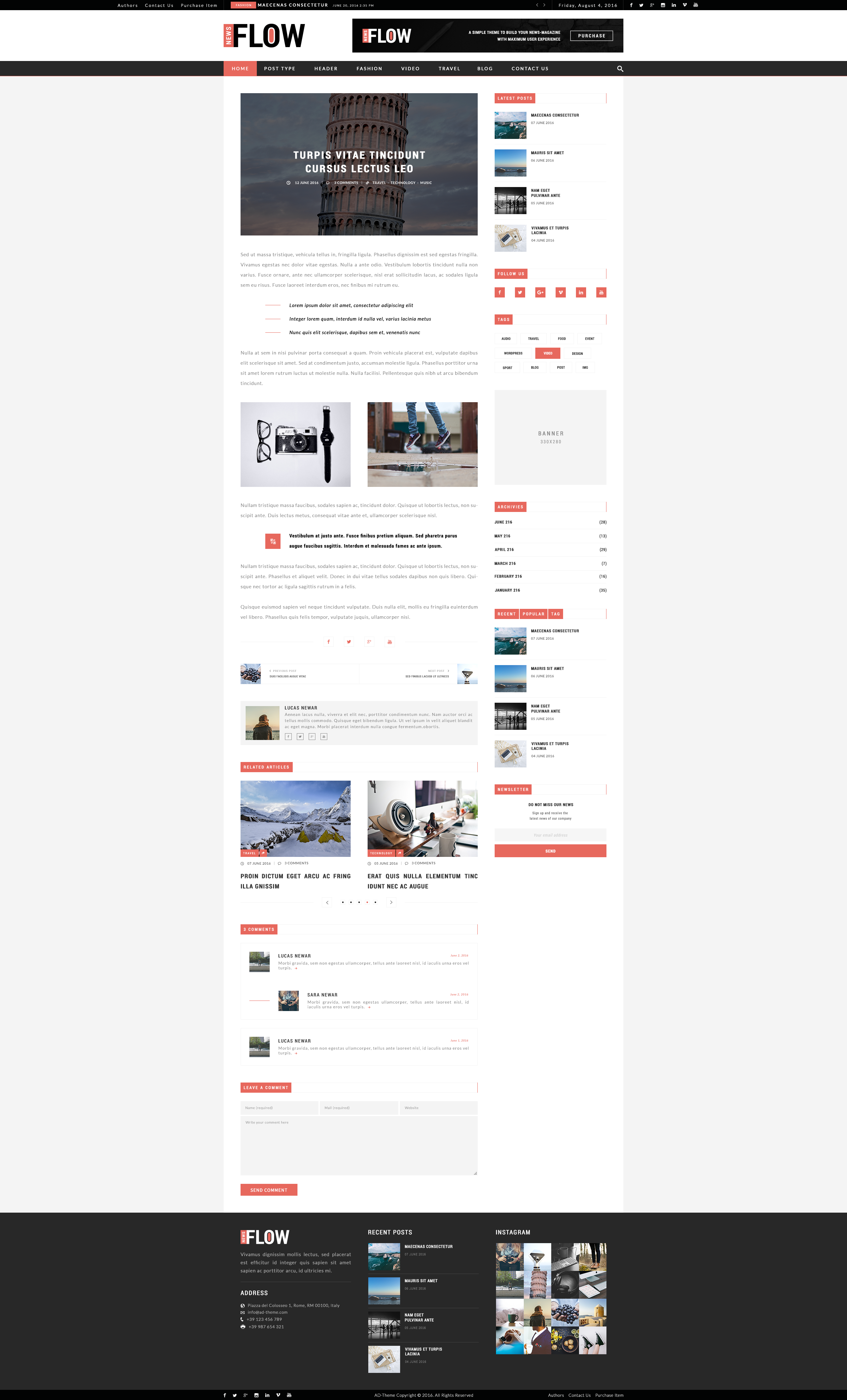FlowNews News And Magazine PSD Template By Adtheme ThemeForest - News website design template
