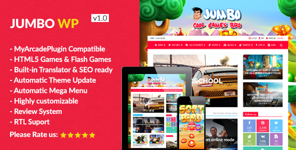 Jumbo – WordPress Gaming & Arcade Theme for Flash and HTML5 Games