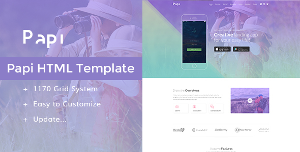 Papi App HTML Template - Apps Technology