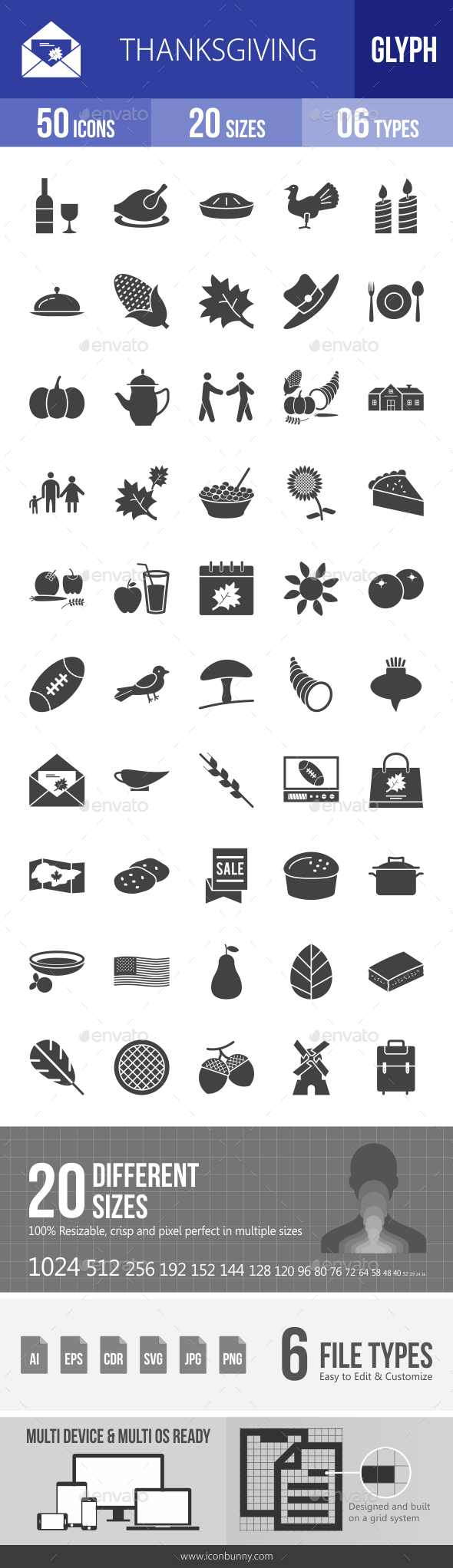 Thanksgiving Glyph Icons - Icons