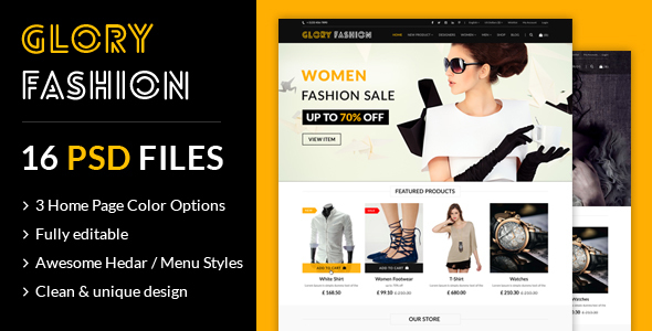 Glory Fashion eCommerce PSD Template Free Download