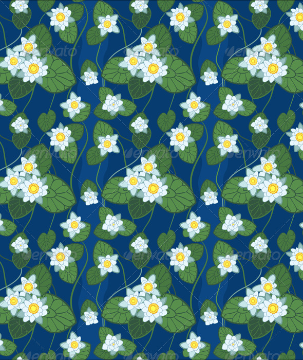 Seamless Blue Pattern of White Lotus  - Patterns Decorative