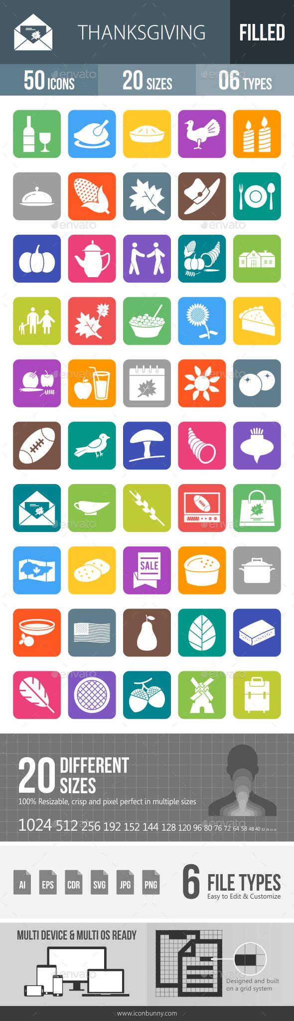 Thanksgiving Flat Round Corner Icons - Icons
