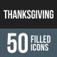 Thanksgiving Flat Round Corner Icons