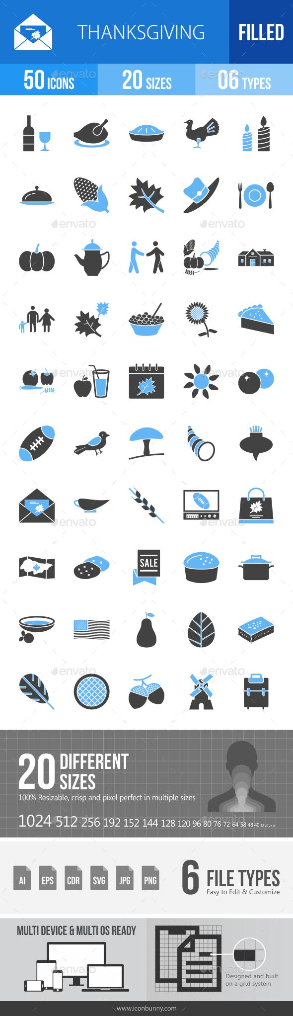 Thanksgiving Blue & Black Icons - Icons