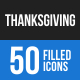 Thanksgiving Blue & Black Icons
