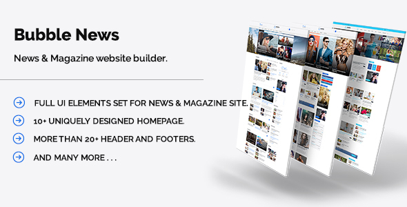Bubble News – News & Magazine website builder PSD template