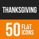 Thanksgiving Flat Round Icons