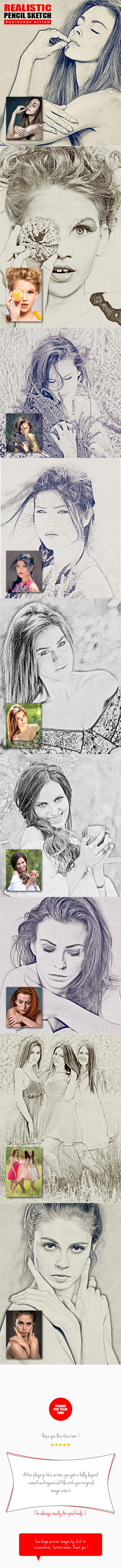 Pencil sketch 4in1 photoshop actions bundle v 1