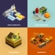 Mining Concept Isometric Icons Set