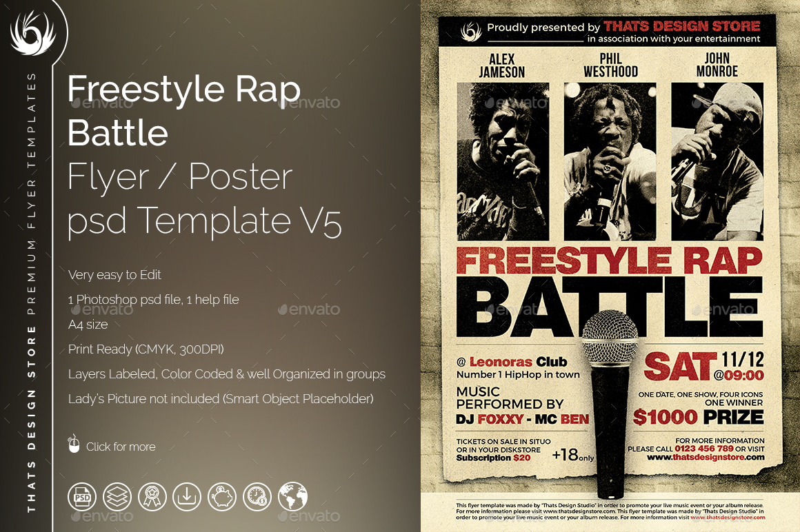 02_Freestyle%20Rap%20Battle%20Flyer%20Template%20V5  Inch Letters Template on sample business, sample request, basic cover,