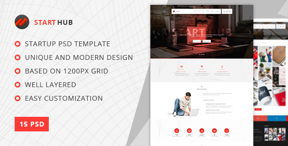 StartHub — Clean Multipurpose Portfolio/Blog PSD Template