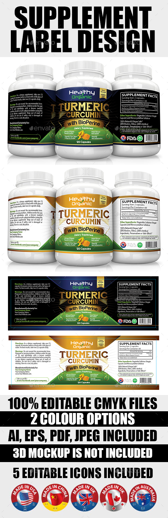 Supplement Label Template Vol-04 by Artsoldiers | GraphicRiver