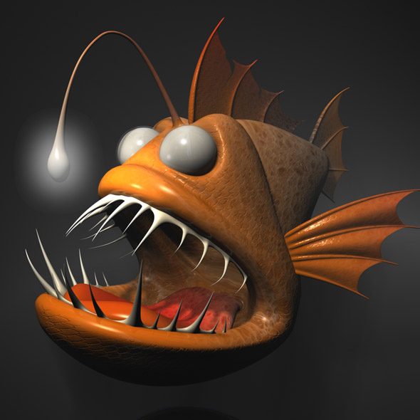 Cartoon Anglerfish RIGGED - 3DOcean Item for Sale