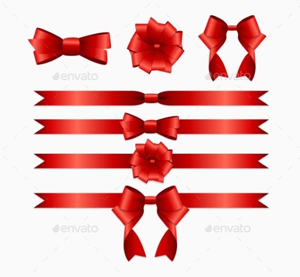 Red Ribbon and Bow Set for Birthday and Christmas - Christmas Seasons/Holidays