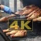 Chef Is Grilling Turkey Legs On The Grill - VideoHive Item for Sale