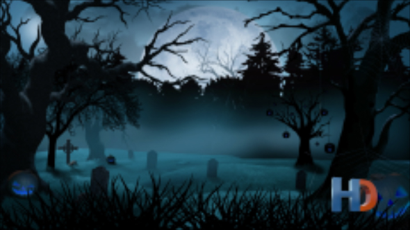 Halloween Graveyard Moon Background by MotionGraphics_YARD | VideoHive