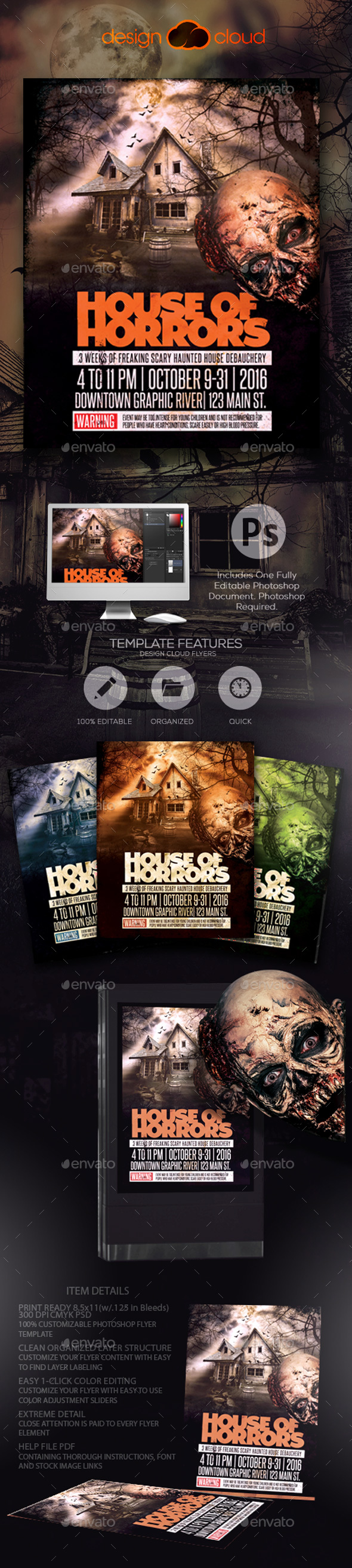House of Horrors Halloween Flyer Template - Holidays Events