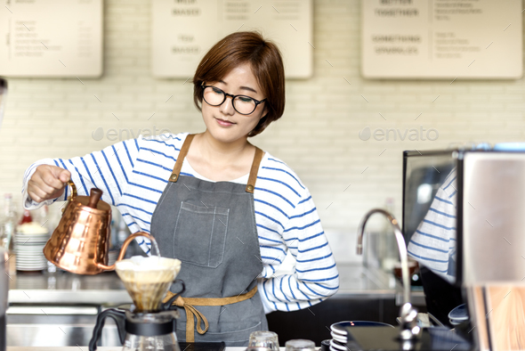 Barista Prepare Coffee Working Order Concept - Stock Photo - Images