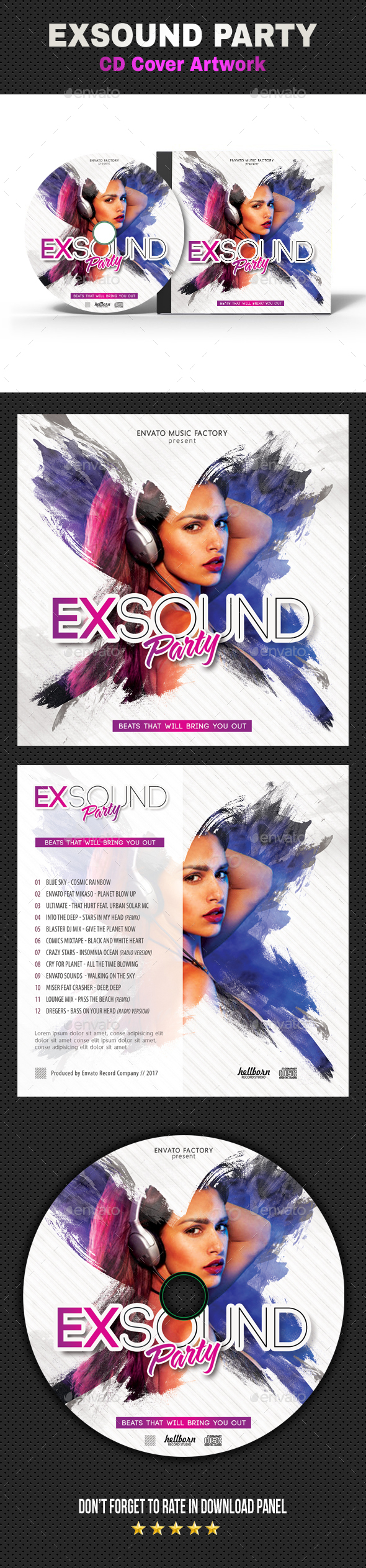 Exsound Music CD Cover - CD & DVD Artwork Print Templates