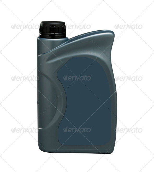 bottle of engine oil (clipping path) - Stock Photo - Images
