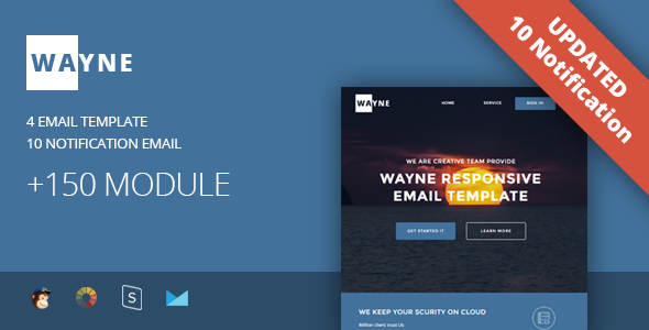 Wayne - Multipurpose Responsive Email Template + Stampready Builder - Newsletters Email Templates
