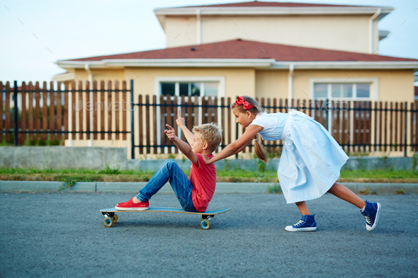 Having fun on skateboard - Stock Photo - Images