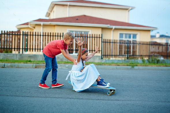 Fun in the yard - Stock Photo - Images