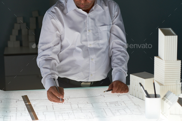 Working at engineering project - Stock Photo - Images