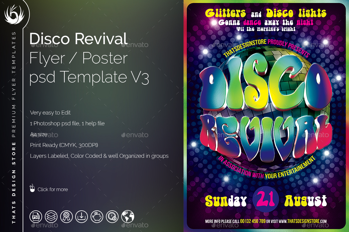 Disco Revival Flyer Template V3 by lou606 | GraphicRiver