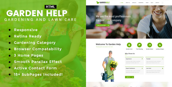 Garden Help - Gardening and Landscaping HTML Template - Business Corporate