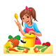 Girl is Cooking with Several Vegetables - GraphicRiver Item for Sale