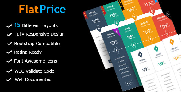 Download FlatPrice – Responsive Bootstrap Pricing Tables