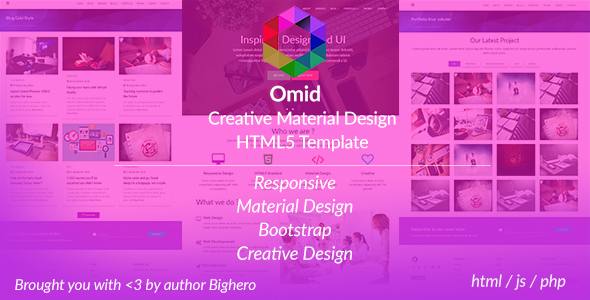 Omid - Corporate Material Design Website Template - Creative Site Templates