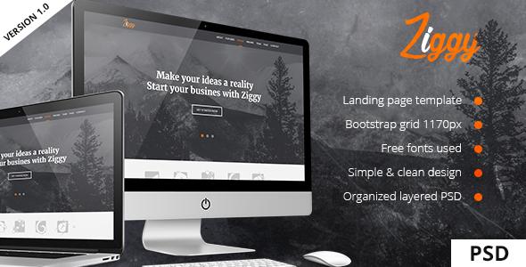 Ziggy - Landing Page PSD Template - Portfolio Creative