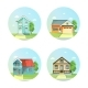 Set Of Flat Icons The House With a Tree. - GraphicRiver Item for Sale