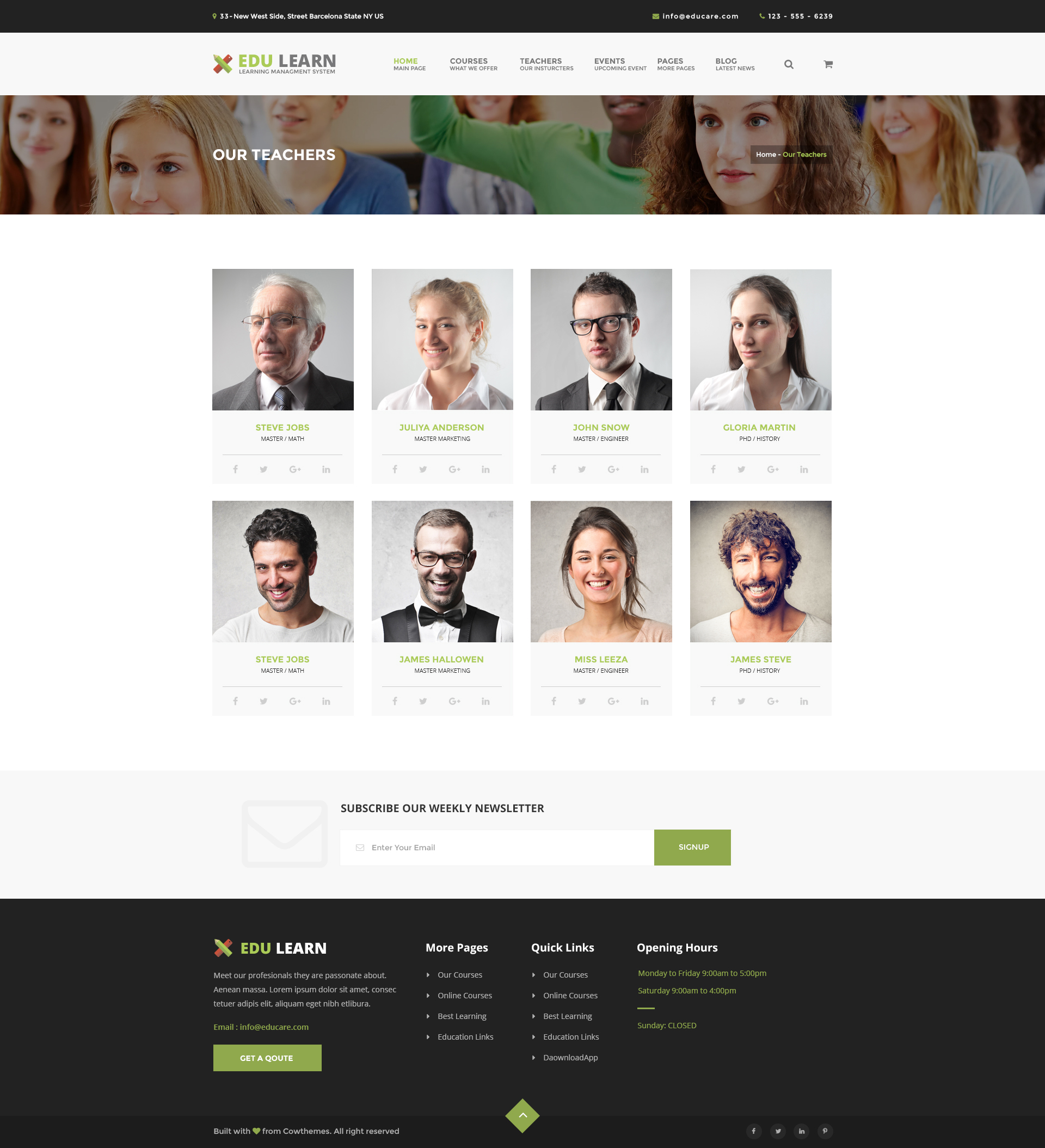 Edulearn education school courses html template