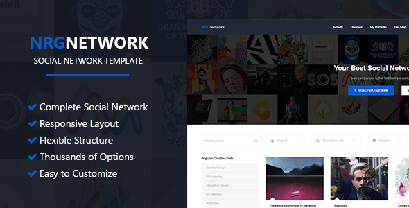 NRGNetwork – Responsive Social Network WordPress Theme