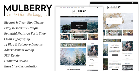 Mulberry – An Elegant Responsive WordPress Blog Theme