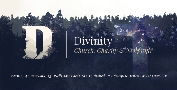 Divinity – Church, Non Profit and Charity Events Bootstrap 4 HTML Template