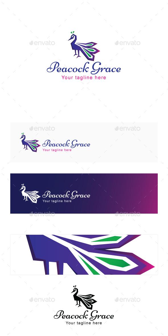 Peacock Grace - Graceful Bird Stock Logo Template - Animals Logo Templates