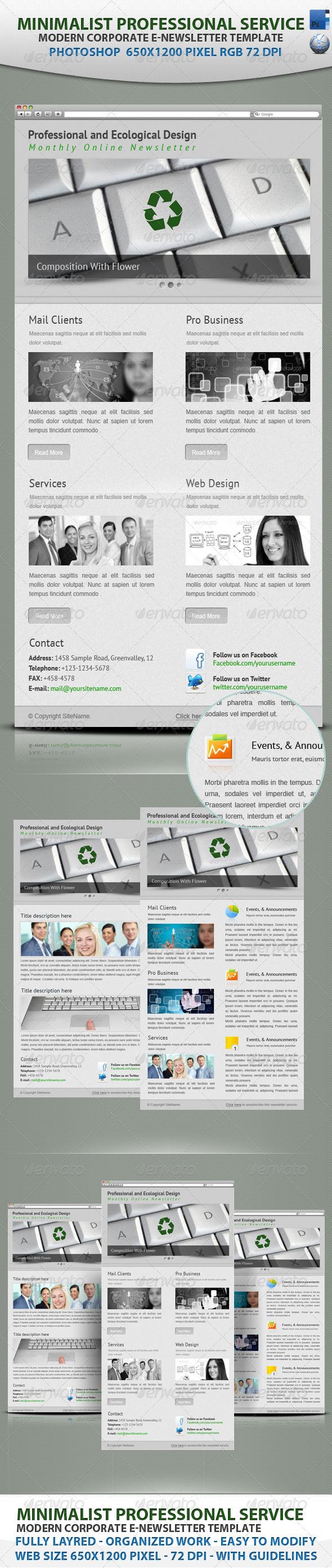 Minimalist professional service E-newsletter - E-newsletters Web Elements